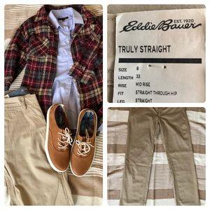 Eddie Bauer straight leg khaki pants size 8